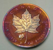2016 Canadian Maple Leaf Clover Privy ,1oz silver coin beatifully toned