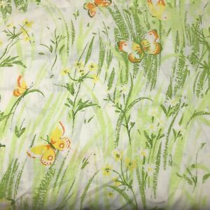 Vintage 60s 70s Cotton Percale Full Size Flat Sheet Green Butterfly Floral