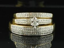 His And Her D/VVS1 Diamond Engagement Wedding Ring Trio Set 14K Yellow Gold FN