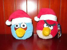 ANGRY BIRDS Red Blue Bird Plush Figure Stuffed Animal LOT Christmas Hat Santa