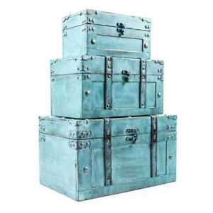 Storage Trunk Box Set Antique Turquoise Finish with Faux Leather Straps Accents