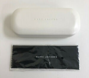 NEW MARC JACOBS Eyeglasses Case + CLEANING CLOTH Hard Small White Optical Case