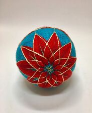 NEW Hand Created Blue & Red Japanese Temari Embroided Poinsettia Ornament Ball