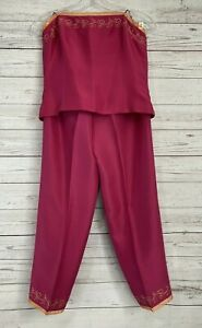Ann Taylor Silk Top and Pant Coordinated Set Embellished Pink
