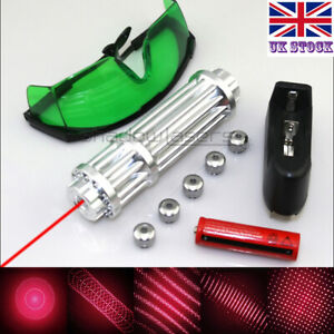 RX3-C 1MW 650nm Red Laser Pointer Lazer Pen & Battery&Charger&Goggles& 5 Caps UK