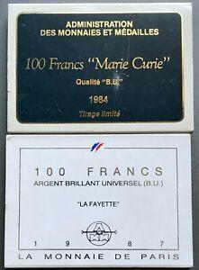 Lot de 2 Coffrets 100 francs Argent BU La Fayette 1987 et Marie-Curie 1984
