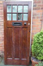 Vintage Old Original 1930's Period Reclaimed Solid Pine Front Door + Accessories