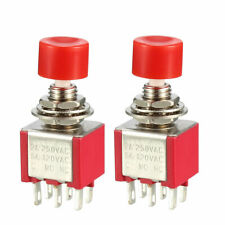 6mm Mounting Hole Red Momentary Push Button Switch Dpdt 2no 2nc 2pcs