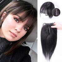 Silk Straight 100% Human Hair Clip in Flat Bang Topper Hairpiece Cover Loss Hair