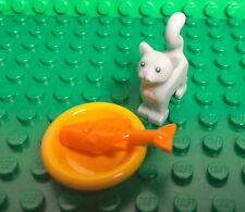 Lego Harry Potter Light Gray Cat / Kitten Animal Mini Figure,gold Fish,food Dish