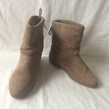 Suede Leather ankle boots Made In Italy  Fleece Lining Tan Size EU 37 AU 6 UK 4