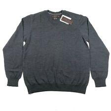 Black Brown Mens M Italian Gray 100% Merino Wool V Neck Pullover Sweater NWT