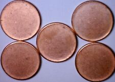5 Pcs. BLANK UNstruck ERROR BU Lincoln Cent PLANCHET = 5 Coin Penny LOT    NR