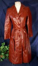 Nice Vintage KALINS Sioux City Custom Belted Redwood Brown Leather Trench Coat S