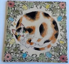 PAIR OF VINTAGE CERAMIC TILES-CAT/FLORAL MOTIFF-SIGNED-LINDA DOUGLAS-ENGLAND