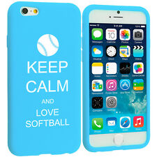 For iPhone 4 4s 5 5s 5c 6 6s Silicone Soft Rubber Case Keep Calm Love Softball