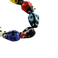 20pcs Ladybug Handmade Lampwork Beads Mini Loose Spacer Jewelry Making 15x10mm
