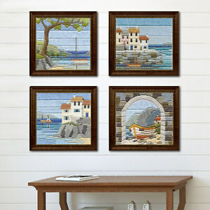 Seaside Scenes in Silken Long Stitch Craft Picture Kit in 22ct Printed Canvas
