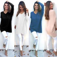 Womens Long Sleeve Pullover Top Sweater Lady V Neck Jumper Oversized Sweatshirt