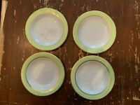Vintage Pyrex Lime Green With Gold Trim 6.75 Inch Dessert Plate Set Of 4 O