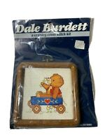 """DALE BURDETT COUNTRY Counted Cross Stitch Kit with 4""""FRAME LITTLE RED WAGON/BEAR"""