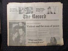 1980 Dec 9 The Record Newspaper Vg+ 4.5 John Lennon Death