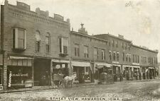 Hawarden Iowa~Street View~US Post Office~Barber Shop Pole~White Horse~1908 PC