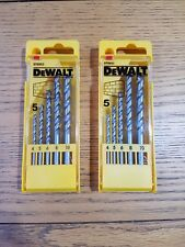 2 Pack DeWALT 5 Piece Masonry Drill Bit Set 4-10mm Carbide tip Brick Block Stone