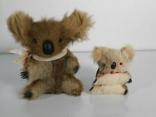 Vintage Koalas Plush Genuine Kangaroo Skin Australia w Real Fur Lot of 2