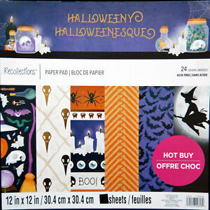 "Cardstock Scrapbook Paper Pad HALLOWEEN 48 Sheets 12x12"" NEW"