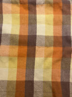 Vintage 1970s North Star Woolen Mills Wool Plaid Blanket Orange, Yellow & Brown