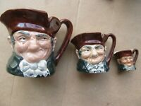 "3 NICE Vintage MATCHING HI-QUALITY ROYAL DOULTON Toby Jugs, ""Old Charley"", GIFT"
