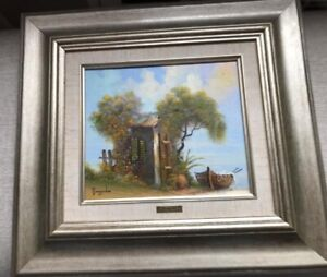 """Jacov Nowogroder House Boat Water Oil Color On Canvas Framed Painting 15"""" x 14"""""""