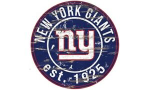 NEW YORK GIANTS Round Distressed Sign 24x24