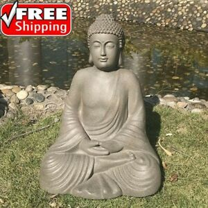 Buddha Statue Large Outdoor Garden Happy Antique Thai Zen Stone Color Tall Decor