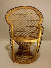 Miniature Peacock Fan Wicker Chair Bear Doll Furniture vintage retro 15.75""