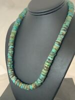 """Native America Navajo Turquoise 12mm 20"""" Heishi Sterling Silver Bead Necklace384"""