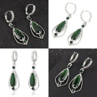 Fashion Elegant Women Green Crystal Rhinestone Ear Drop Dangle Stud Earrings NEW