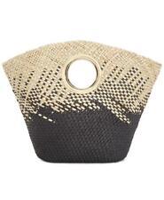 Inc International Concepts Straw Open Handle Tote Bag Black