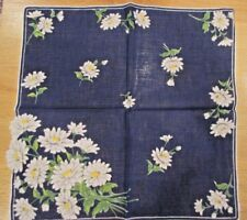 Pretty Vintage Hankie Navy Blue with Daisies Scalloped Flowers Very Gently Used