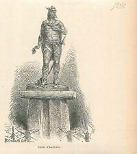 Statue of Ambiorix in Tongeren Tongre Tongern Limbourg GRAVURE OLD PRINT 1880