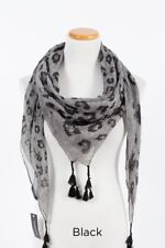 Women's Square Soft Wrap Multi Scale Leopard Print Scarf with Tassels Black Gray