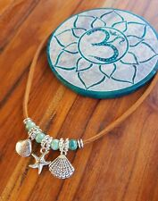 Anklet Gypsy Ocean Beads Shells Starfish Suede Leather Tie Up Choker Bracelet ♡