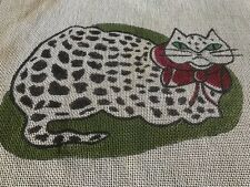 Vintage cute angry sad cat needlepoint canvas  Hand painted canvas
