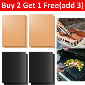BBQ Grill Mats Reusable Sheet Resistant Non-Stick Barbecue Bake Meat Tray Pad UK