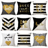 "18"" Bronzing Golden Letters Throw Sofa Pillow Case Car Cushion Cover Home Decor"