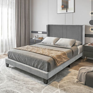 YITAHOME Full Queen Size Bed Frame Platform Mattress Foundation with Headboard