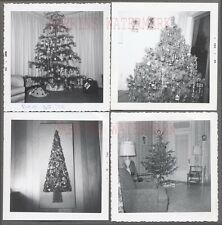 Lot of 4 Vintage Photos Christmas Tree Holiday Decorations Home Interior 731628