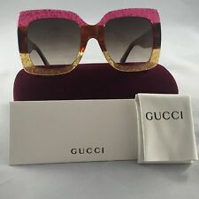 Gucci gg0083s 002 Pink-Gold Gradient Lenses 55mm Oversize Women Sunglasses