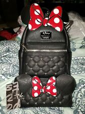 Loungefly Disney Minnie Mouse Faux Leather Mini Backpack & Wallet NWT